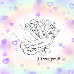 iloveyou mygirl hand rainbow hearts freetoedit