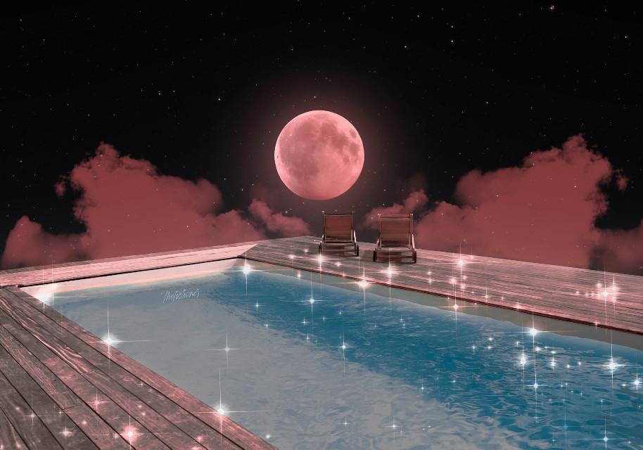 - C O S M I C   R E S O R T -   º Edit by me  º Moon - Photo on Adobe Stock   #surreal #pool #water #aesthetic #papicks #freetoedit
