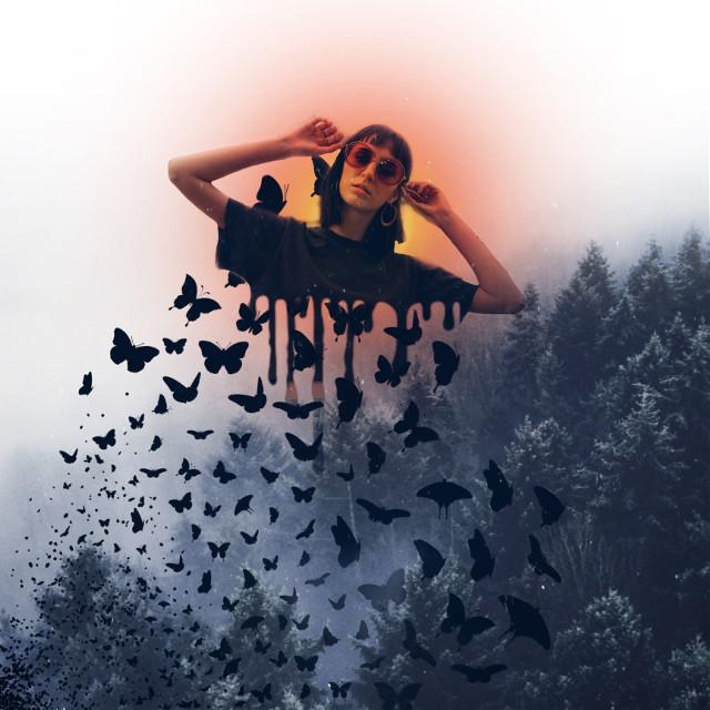 #freetoedit #forest #drip #birds #trend #trending #flare #orangeflare #fog #butterflys #color #art #picsart