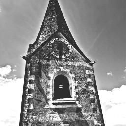 church tower clock blackandwhite