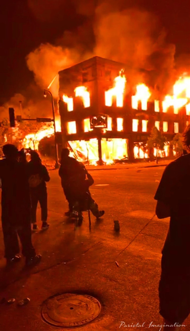 Building lit on fire as protests turn to looting/riots in Minneapolis, Minnesota.  Photo by: Parietal Imagination Art @pa, May 28, 2020 #minneapolis #minnesota #protests #riots #georgeflynn #donotedit #myphoto #myphotography #vip #parietalimagination