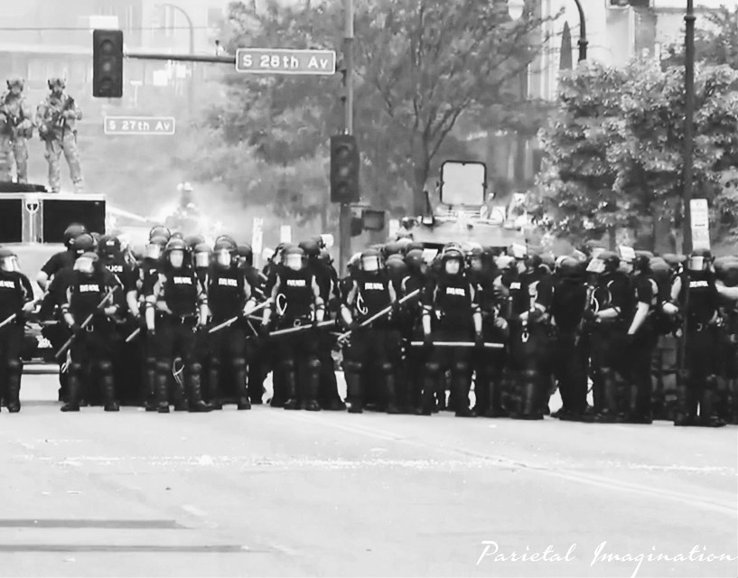 Police line-up against protests/riots in Minneapolis, Minnesota.  Photo by: Parietal Imagination Art @pa, May 28th 2020 #minneapolis #minnesota #protests #riots #officers #nationalguard #georgeflynn #donotedit #myphoto #myphotography #vip #parietalimagination
