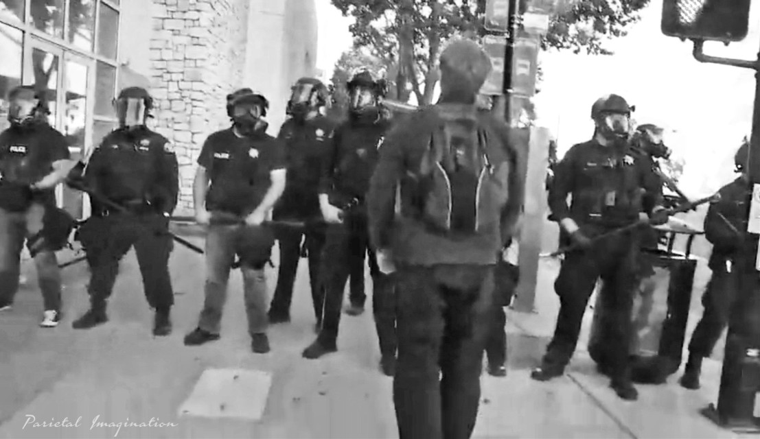 Holding the line-up police block protestors from  advancing. New York City, New York.  Photo by: Parietal Imagination Art @pa, May 29th, 2020 #newyorkcity #newyork #protests #riots #georgeflynn #donotedit #myphoto #myphotography #vip #parietalimagination