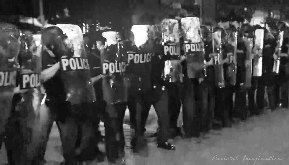 Police line-up to block rioting from advancing.  Photo by: Parietal Imagination Art @pa, May 29th, 2020 #protests #riots #georgeflynn #donotedit #myphoto #myphotography #vip #parietalimagination