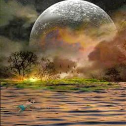 freetoedit island fullmoon golden sunset