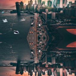 city cityscape edgeofworld imagebending bendingeffect ecsurrealisticworld surrealisticworld