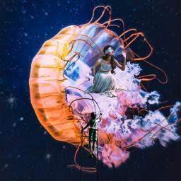 freetoedit girl jellyfish ladder boy