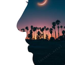 silhoutte fantasy doubleexposure sunset moon freetoedit