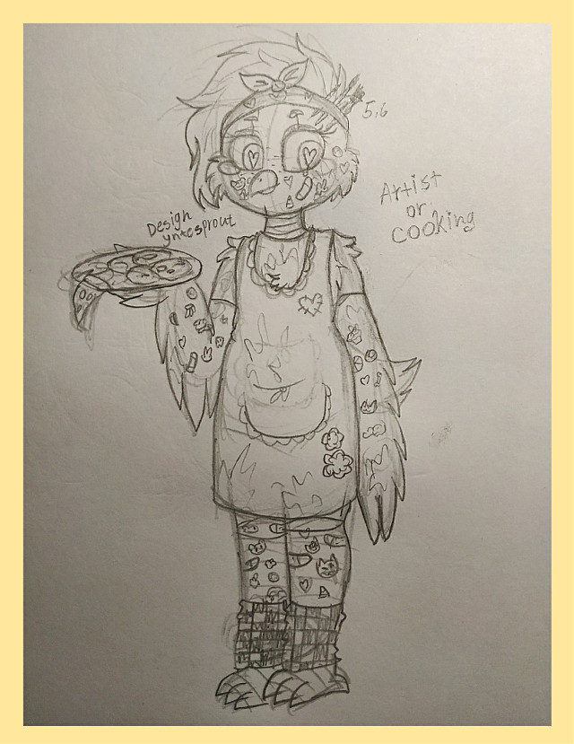 I wanted to add more details to Chica design👀🐤✨  #fnaf #fnafhschica #art #sketch