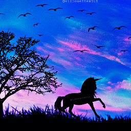 freetoedit unicorn silhouette silhouettes tree