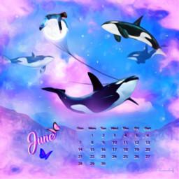 freetoedit moon whales magical fantasyart srcjunecalendar junecalendar