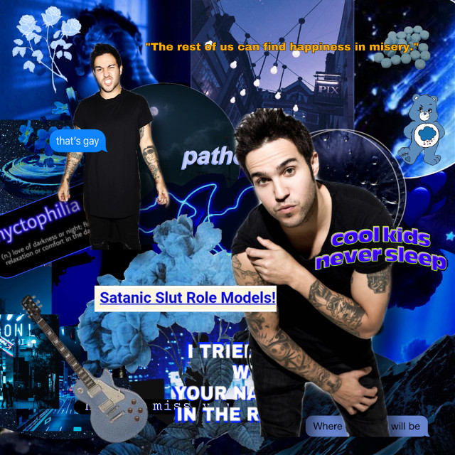 """✨HAPPY PRIDE EVERYONE!!✨  {🏳️🌈}Date: 6/3/20  {🏳️🌈}Person/Theme: P*te W*ntz  {🏳️🌈}Colors: Dark Blue  {🏳️🌈}Song of the week: I'm Just A Kid by Simple Plan  {🏳️🌈}Quote of the week: """"Dear moon, please fall the fuck down. I am tired of crying over this song. Let me live Ryan Ross."""" -Me  {🏳️🌈}Anyone who helped:  {🏳️🌈}Requested by:  {🏳️🌈}IRL Besties: •@sleepiisnek •@clarinetkat  {🏳️🌈}Tag list:  Comment """"🌈"""" to be added, comment """"⚡️"""" to be removed, Comment """"💜"""" and your old username if you changed it   •@amongstthemoon •@nqrthern-dqwnpour  {🏳️🌈}Hashtags: #petewentz #falloutboy #darkblue #blue #darkblueaesthetic #blueaesthetic   -XOXO Ellie #freetoedit"""