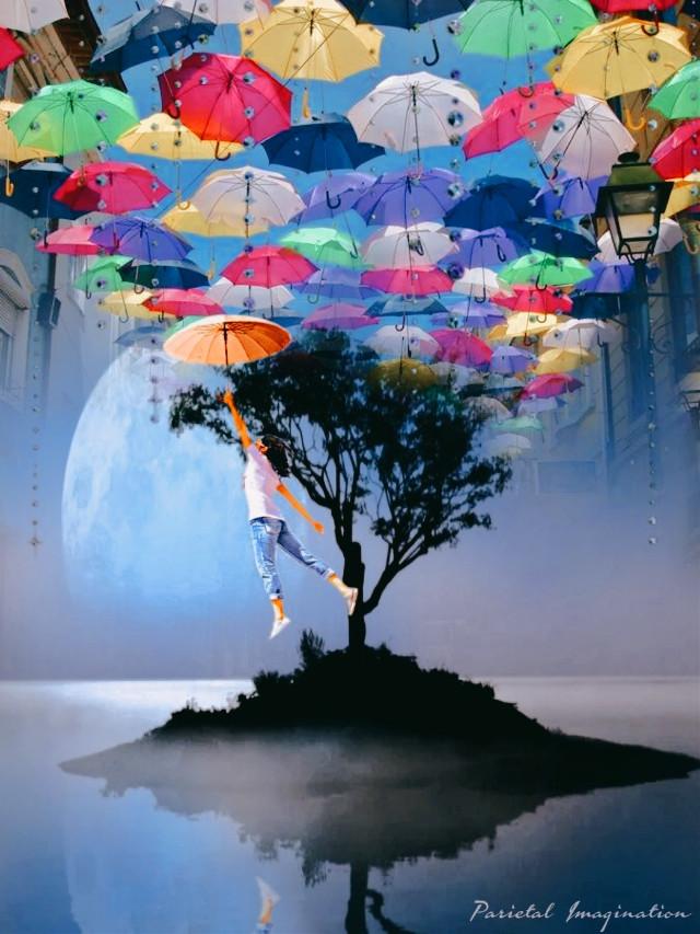 Edit by: Parietal Imagination Art @pa #papicks #freetoedit #surreal #umbrella #flyaway #sky #landscape #reflection #remixofmyremix #fx #vip #madewithpicsart #parietalimagination