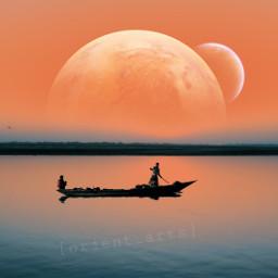 sunset lake planet moon boat freetoedit