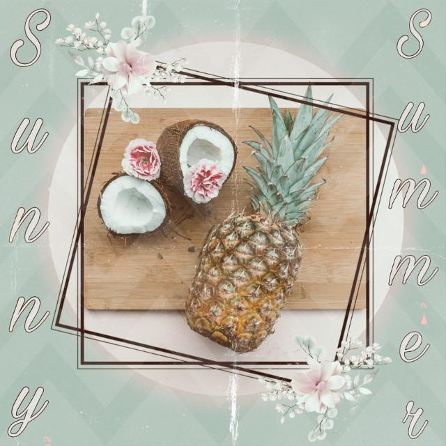 #freetoedit #ecsummeraesthetic #summeraesthetic #coconut #pineapple #flowers #summer #sunnysummer #pink #green #aesthetic