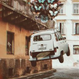 freetoedit car butterflies suitcase ftestickers