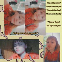 freetoedit aesthetic girl orange blue