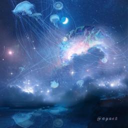 freetoedit galaxy moon planets jellyfish