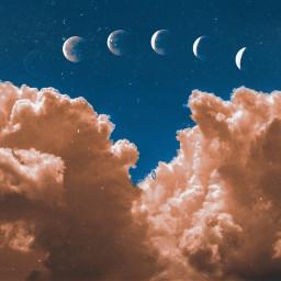 freetoedit moon sky orange blue