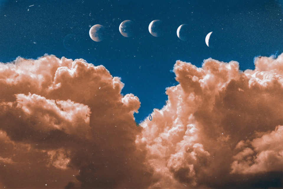Moon 🌕 #freetoedit #moon #sky #orange #blue 🌕#1994 #cloud #m278