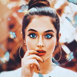 girl beautiful blueeyes butterflies madewithpicsart freetoedit