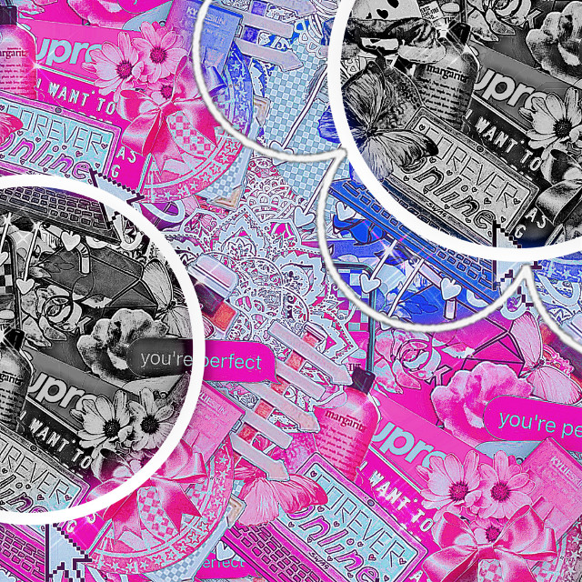 A free to use complex background but give credits!!!!!! #complexbackground #complex #pink #hotpink #blue #white #grey #black  Btw I did not make the actual background I just add the different colour things!!