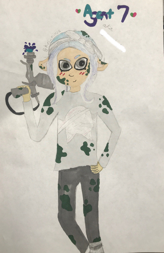 This was for my irl bestie but it took me so long to do so I thought I should post it. I hope all of you like it. Please dont steal it ( not that its worth stealing ) and if you dont know what its from its Nintendo's Splatoon/Splatoon 2 character.  #splatoon2 #splatoon #nintendo #bestie #agent #fanart