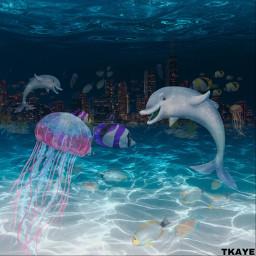 freetoedit ocean oceanscene city skyline ircwaterworld waterworld