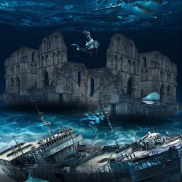 freetoedit boat sea men shark ircwaterworld waterworld