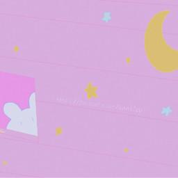 aesthetic bunny moon stars pink
