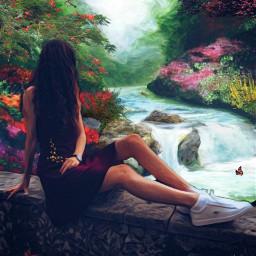 freetoedit waterfall garden viewpoint scenic scenicbeauty
