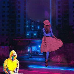 freetoedit person personfloatingabovestreet woman colorchangeeffect ecneoncity neoncity