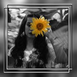 freetoedit girl flower frame blackandwhite eccolorpop colorsplash colorpop