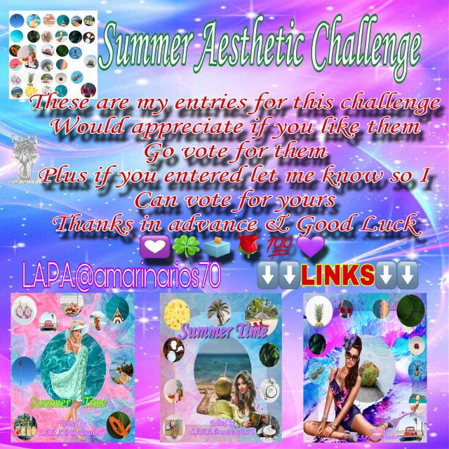 It's that time to vote for      (Links)⬇️⬇️  Summer Aesthetic Challenge   These are my entries for this challenge  Would appreciate if you like them  Go vote for them  Plus if you entered let me know so I  Can vote for yours  Thanks in advance & Good Luck 💟🍀🗳🌹💯💜  ⬇️⬇️LINKS⬇️⬇️   https://picsart.com/i/330256564071201?challenge_id=5edf612ce22f5a613479100d  https://picsart.com/i/330257804053201?challenge_id=5edf612ce22f5a613479100d  https://picsart.com/i/330258798014201?challenge_id=5edf612ce22f5a613479100d Thanks in advance   #mybackground #mywork #myediting #editedbyme #editedbyLAPA@amarinarios70 #chicas #summer #illustration #digitalart #artist #photography #photographer #photooftheday @amarinarios70  #freetoedit