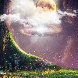 freetoedit hanginglight moon clouds tree