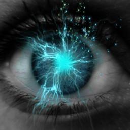 freetoedit eye electric neonstars blackandwhiteandblue