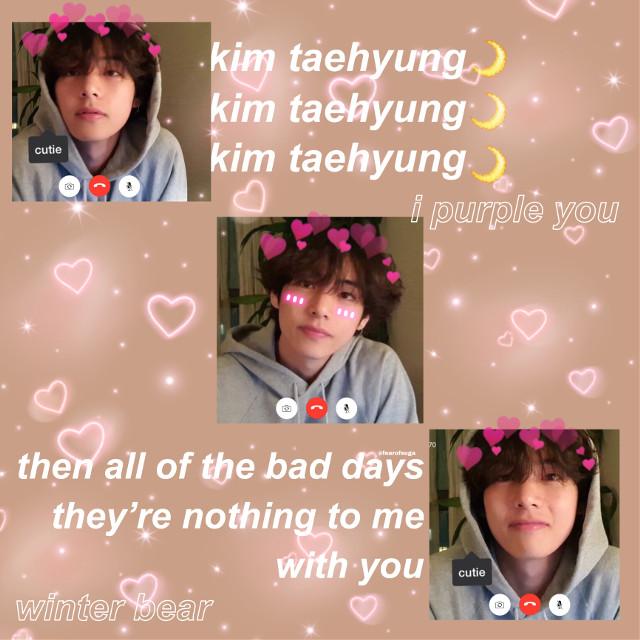 #taehyung #bts #v #winterbear #cute #vlive #lyrics #soft #aesthetic #pastel #pink #freetoedit