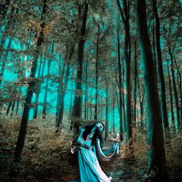freetoedit gothic girls forest fantasy