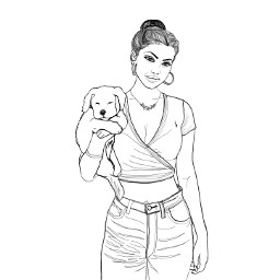 girl puppy outline outlineart myart freetoedit