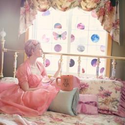 freetoedit woman womansitting bed mug srcskydrops skydrops