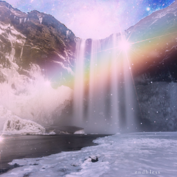 freetoedit rainbow mountain waterfall rainbowbright ecrainbowbright