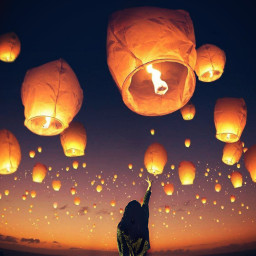 freetoedit sunset sky lanterns irctouchthesky