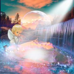 angel sunset waterfall beautifulsky sparklingwater freetoedit