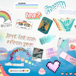collage rainbow teal pastel freetoedit