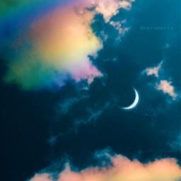 freetoedit aesthetic sky clouds rainbow