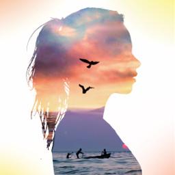 freetoedit silhouette myedit girl sea
