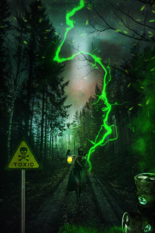 Toxic #freetoedit #chemicals #toxic #lightning #green #lantern #girl #gasmask #forest #danger #fantasy #storm