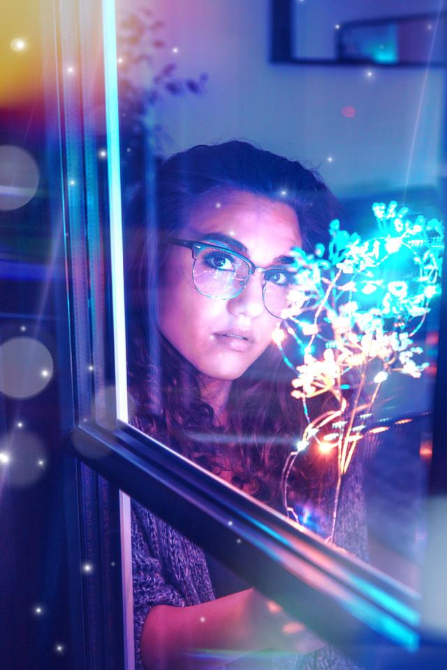 #freetoedit #girl #beauty #neon #lights #flowers