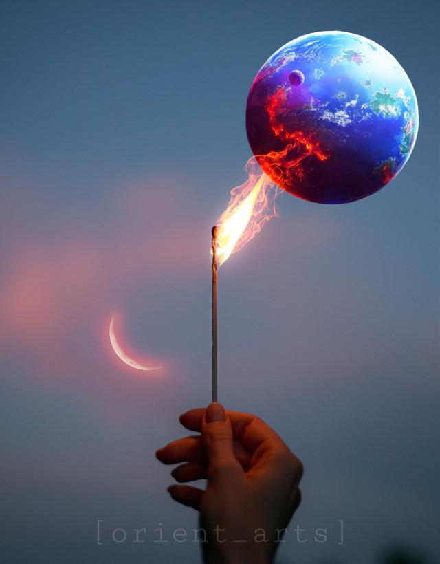 #freetoedit #papicks #madewithpicsart #clouds #moon #planet #match #flame #picsart