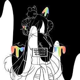 rainbow drip black white b